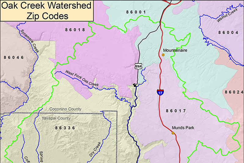 Watershed Map with Zip Codes