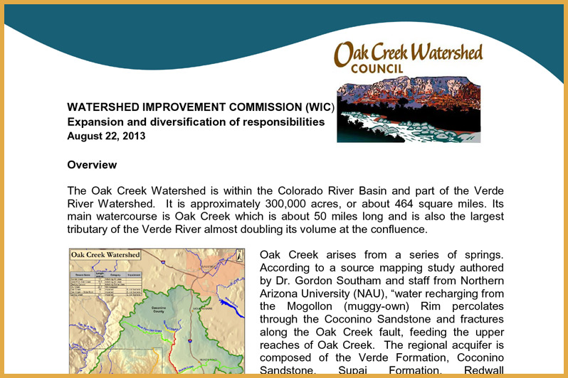 Oak Creek Watershed Improvement Commission (OCWIC)
