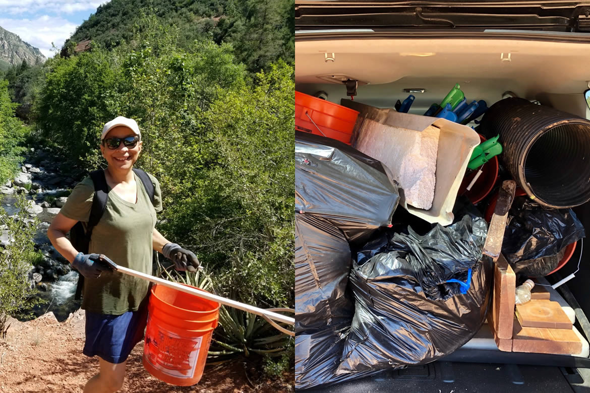 Split image: Crew volunteer picking up trash and a carlod of trash to be hauled away