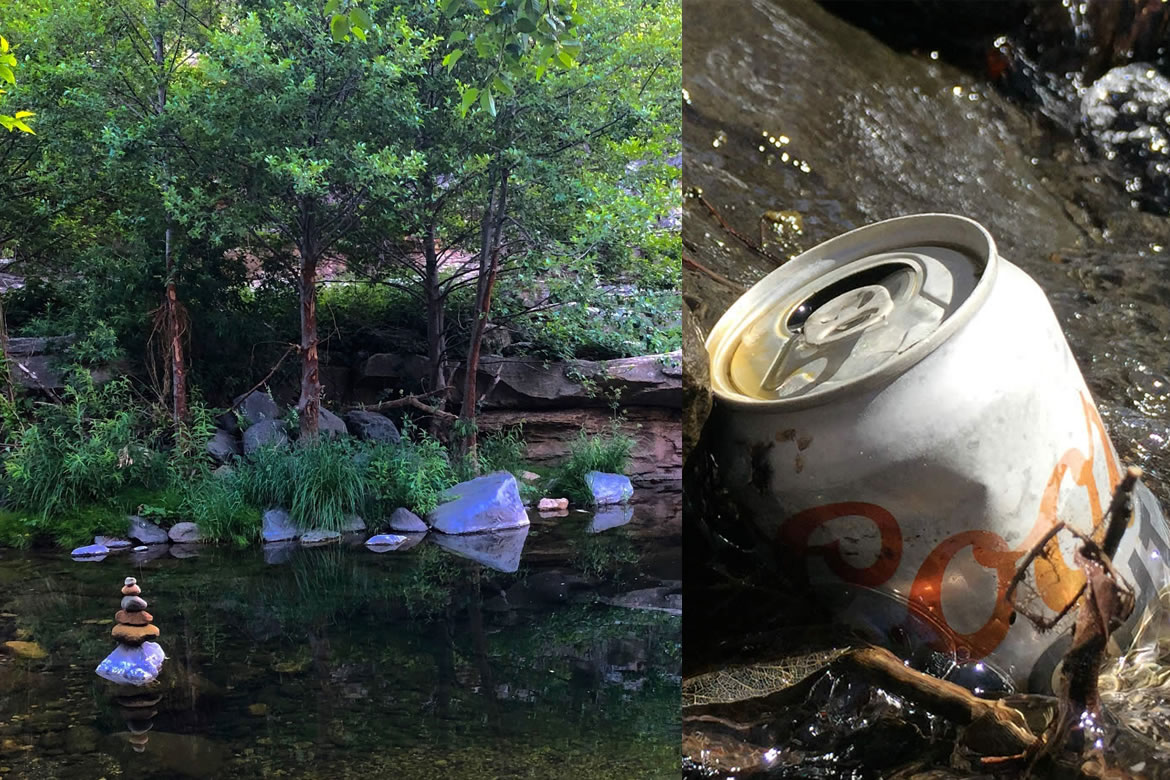 Split image: Prayer rocks in the stream and beer can caught in the streamflow